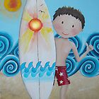 Little Surfer Boy Acrylic Painting by Kristy Spring-Brown