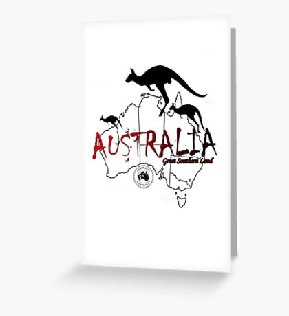 Australia outline and kangaroos silhouette Greeting Card