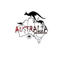 Australia outline and kangaroos silhouette Photographic Print