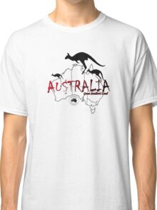 Australia outline and kangaroos silhouette Classic T-Shirt