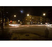 A busy intersection with a full moon Photographic Print