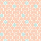 Honeycomb and Bee in Peach & SeaSpray by ThistleandFox