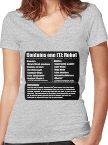 Robotic Humanoid (tm) Women's Fitted V-Neck T-Shirt
