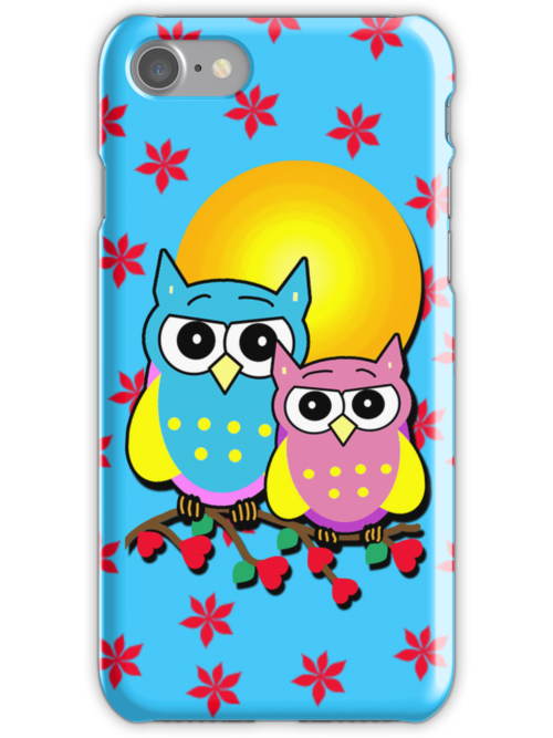 Two Cute Owls on an iPhone Case by Greenbaby