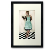 Pin Up Housewife on checkered floor Framed Print