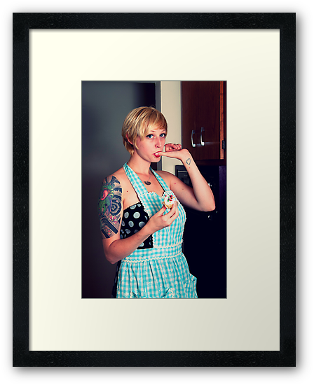 Pin Up Housewife tasting cupcakes by DariaGrippo