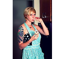 Pin Up Housewife tasting cupcakes Photographic Print