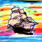 Ship at Sea, watercolor by Anna  Lewis
