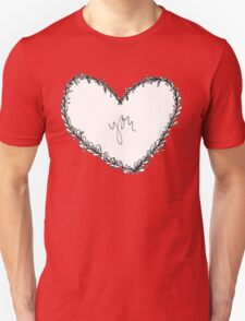 Don't Ever Leaf My Heart (White). Unisex T-Shirt