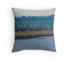 Brent geese approaching Throw Pillow