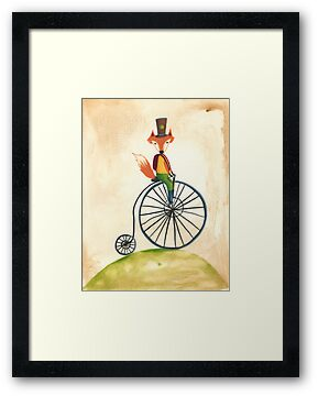 foxy on his penny farthing by emmz