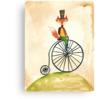 foxy on his penny farthing Canvas Print