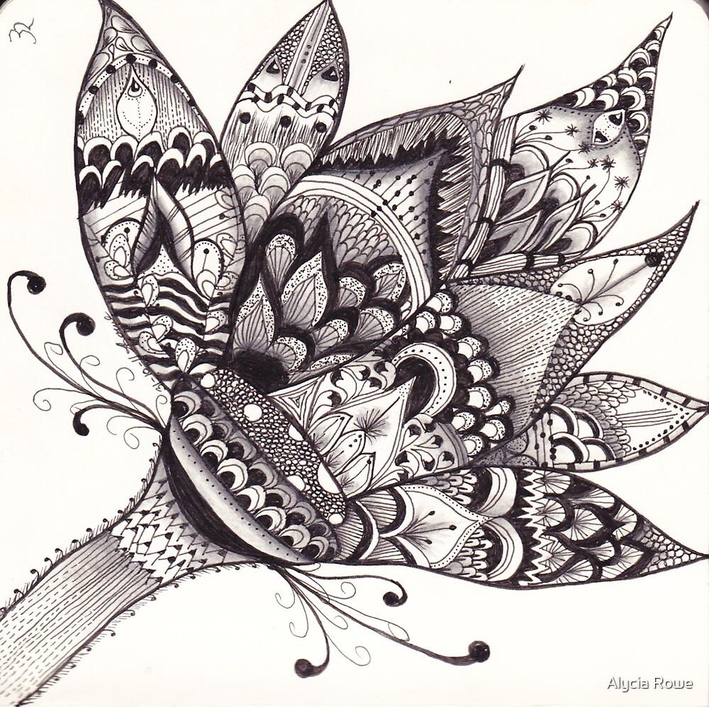 zentangle lotus flower by alycia rowe redbubble. Black Bedroom Furniture Sets. Home Design Ideas