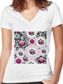 Vintage shabby Chic pattern with Pink and Black flowers  Women's Fitted V-Neck T-Shirt
