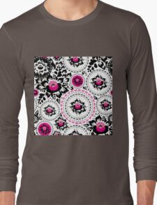 Vintage shabby Chic pattern with Pink and Black flowers  Long Sleeve T-Shirt