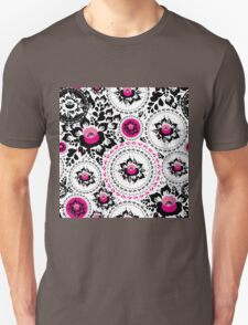 Vintage shabby Chic pattern with Pink and Black flowers  T-Shirt