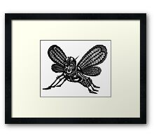 Mothman surreal black and white pen ink drawing Framed Print