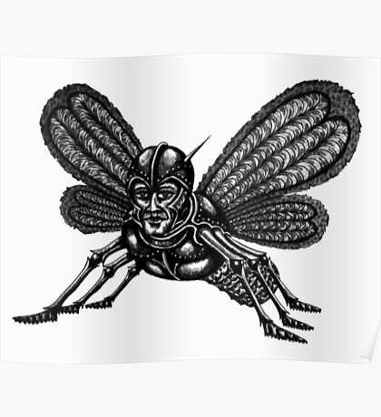 Mothman surreal black and white pen ink drawing Poster