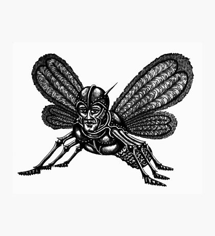 Mothman surreal black and white pen ink drawing Photographic Print