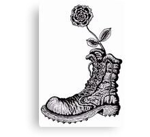 Boot with Flower black and white pen ink drawing Canvas Print