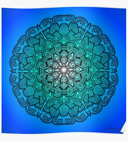 Mandala Drawing 21 BLUE Prints, Cards & Posters Poster