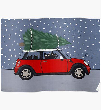 Red Mini Christmas Tree Poster