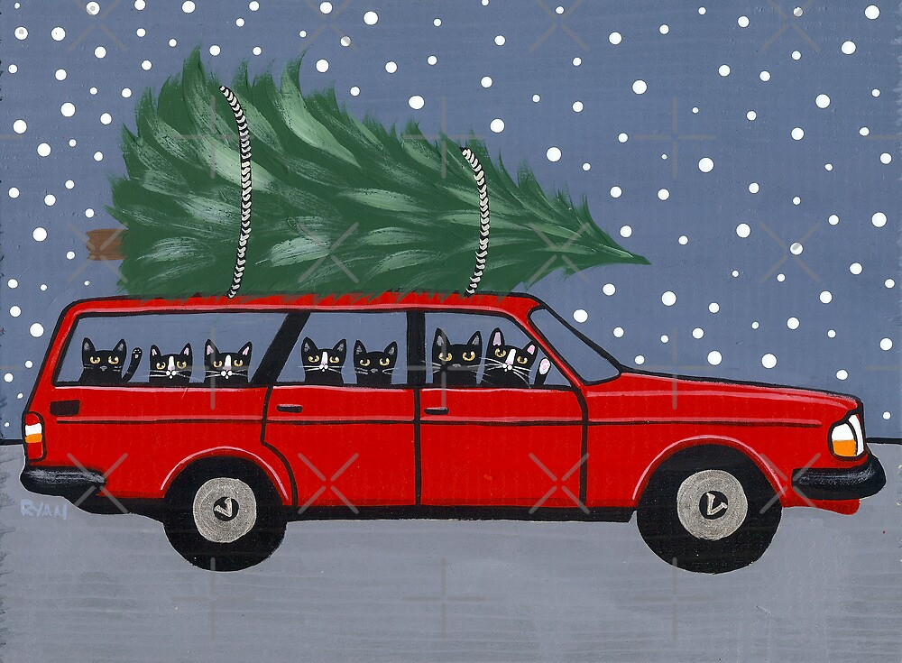 Volvo Cats Christmas Tree by Ryan Conners