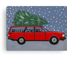 Volvo Cats Christmas Tree Canvas Print