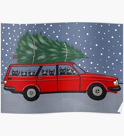 Volvo Cats Christmas Tree Poster