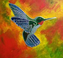 Hummingbird in flight by Desray