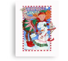 Elf & Snowman's Surprise for Santa Canvas Print