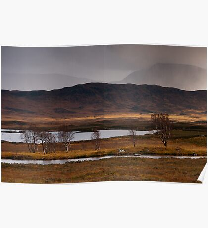 Stormy weather at Loch Ba Poster