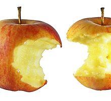 eating an apple by Klaus Vartzbed