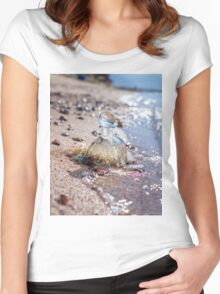 A bottle with seashells embedded in the sand on the beach  Women's Fitted Scoop T-Shirt