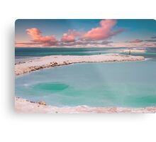 Israel, Dead Sea landscape view Crystallized salt on the shore  Metal Print