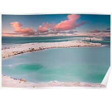 Israel, Dead Sea landscape view Crystallized salt on the shore  Poster