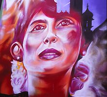 Aung San Suu Kyi - Brighton Street Art by Steve Churchill