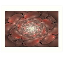 3D Blossoms - Pearl and Coral Art Print