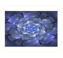 3D Blossoms - Sapphire Art Print
