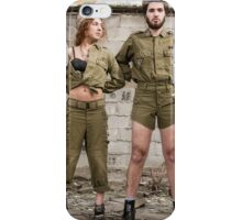 Models in Israeli Army uniform is a deserted location  iPhone Case/Skin