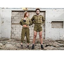 Models in Israeli Army uniform is a deserted location  Photographic Print