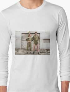 Models in Israeli Army uniform is a deserted location  Long Sleeve T-Shirt