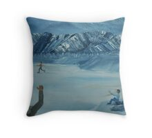 Friends have winter fun together Throw Pillow