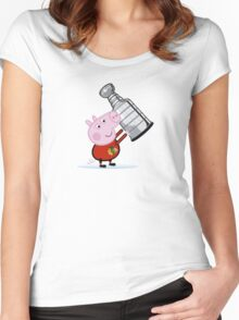 Chicago Blackhawks Fan with Stanley Cup Women's Fitted Scoop T-Shirt
