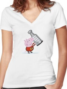 Chicago Blackhawks Fan with Stanley Cup Women's Fitted V-Neck T-Shirt