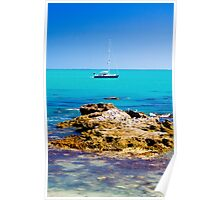 Boat with rocks at Robe Poster
