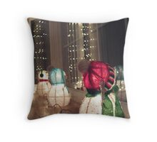Three Snowmen Throw Pillow