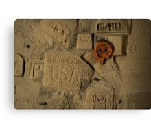 WW1 graffiti with red skull Canvas Print