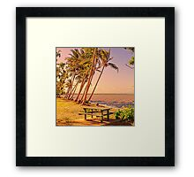 Coconut palms on beach with picnic table Framed Print