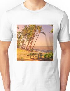 Coconut palms on beach with picnic table Unisex T-Shirt